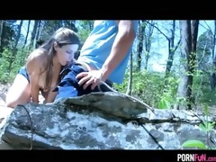 young pair roleplays in the forest