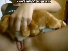 golden-haired gf masturbates with stuffed toy