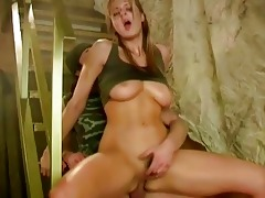 youthful breasty army lady receives her a-hole