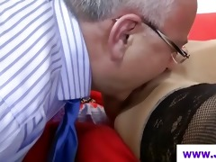 hottie in nylons licked by old chap