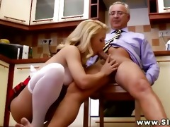 youthful euro hottie sitting on old mans pecker