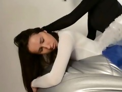 youthful princess acquires thong on permeated