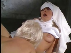 aged and younger nun play
