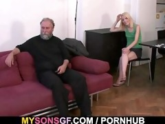 daddy punishes his gf and gets caught by son