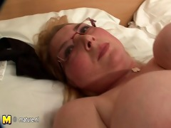 golden-haired large hootered bitch showing her