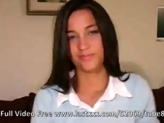 youthful brunette hair angel solo on the sofa