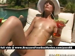 juvenile brunette hair angel at the pool receives