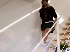 juvenile euro schoolgirl teases old guy