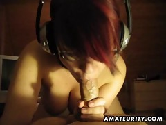 breasty juvenile girlfriend full fellatio with