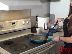 year old milks cum on apron