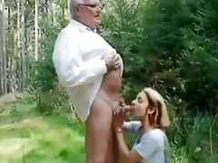 youthful girl helping an old chap wi...