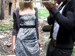 juvenile golden-haired sucks a huge rod on the