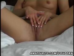 hawt dilettante girlfriend masturbates and fuck