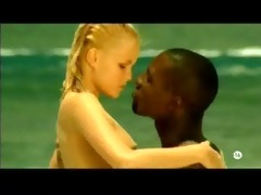 youthful blonde white beauty with black paramour