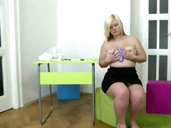 plump youthful golden-haired gal masturbates with
