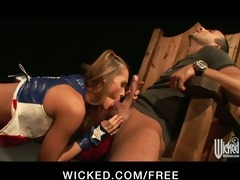 sexy youthful golden-haired cheerleader acquires