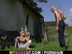 sexually excited gf cheats outdoors with her bfs