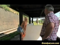 old stud blackmails cute blond whore for fuck