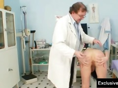 brunette pavlina fur pie exam by old doctor