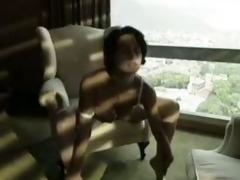 short-haired dark brown plowed in hotel room