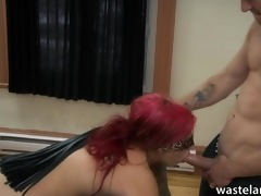 youthful redheaded sex serf is blindfolded and