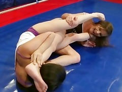 cute youthful brunettes fighting