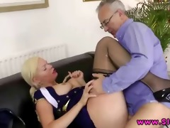 a hot juvenile blond engulfing old lads weenie
