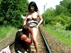 juvenile dark brown doxy fucked on the railroad