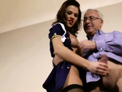 chic brittish honey rides old dude