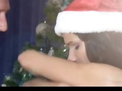 old dude fuck gorgeous brunette hair at christmas