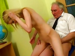 old teacher gives youthful hottie a drilling