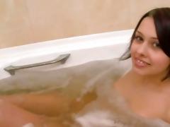 juvenile foamed sweetheart washing in a baths
