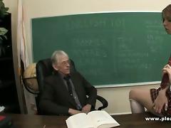 juvenile whore copulates old teacher to pass the