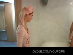 sexually excited youthful maid bonks old hotel