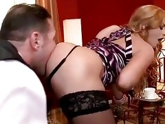 family villein licking hawt golden-haired lady