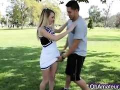 lewd juvenile blond cheerleader
