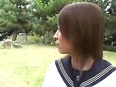 youthful japanese gal in school uniform
