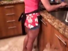 getting in her kitchen