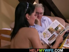 old hubby watches his lovely wife fuck