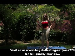 youthful golden-haired exercising and undressing